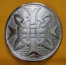 """Croix Celtique Nœud Ceinture Boucle Kilt Finition Chrome 3 """"/ Écossais Rond"""