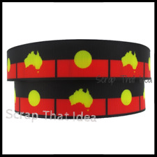 "Aboriginal Flag  RIBBON.  1"" Grosgrain.  Scrapbooking/ Craft/ Bows.  AUSTRALIA"