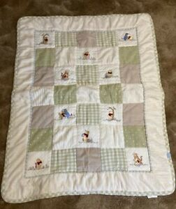 VTG Disney Classic Winnie The Pooh & Friends Crib Comforter Baby Blanket Quilt