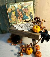 PRIMITIVE VICTORIAN VINTAGE STYLE HALLOWEEN DEVIL WITCH CAT PUMPKIN SIGN CANVAS
