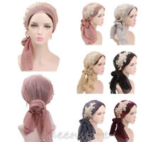 Muslim Women Shiny Pleated Shawl Headband Hijab Turban Scarf  Headwrap Chemo Cap