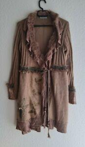 25 % Mohair, 40 % Wolle / GREEN JEANS  Damen Long Strick Jacke GR . L / XL