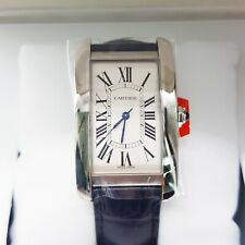 Cartier Tank Americaine Large Model Stainless Steel Blue Leather Watch WSTA0018