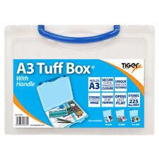 A3 transparente de plástico documento fuerte Tuff Caja llevar carpeta de almacenamiento de archivos Cartera-B