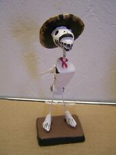 Day of the Dead Skeleton Clay Dog with Sombrero and Red Scarf - Mexico