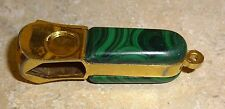 Vintage Pfeilring Solingen V Shaped Cigar Cutter #5610 Gold tone Malichite