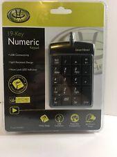Gear Head 19 Key Numeric Keypad USB 2.0 Num Lock LED Indicator KP2200U    NEW