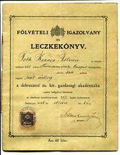 FREE SHIPPING Hungarian School Certificate 1906 TÓTH KOVÁCS ISTVÁN Debrecen