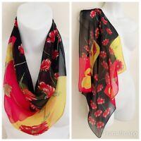 "HALSTON LIFESTYLE Women 100%Silk Scarf Multicolor Floral 18.5"" x 19.5"""