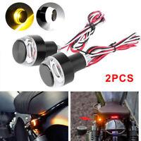 2pcs Motorcycle Turn Signal Amber LED Light Indicator  Handle Bar End Handlebar