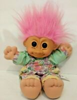 Russ Berrie Troll Doll 13 Inches Pastel Colored Clothes W/ Lt.Pink Hair
