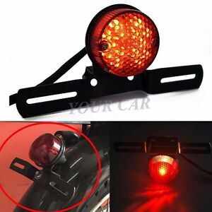 Round Red LED Motorcycle Brake Tail Running License Plate Light BOBBER CHOPPER
