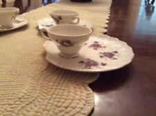 """Vintage LUNCHEON PLATES and CUPS. SHELL SHAPED 8"""" PLATES GOLD TRIM (lot of 4)"""