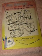 Vtg NOS Aunt Martha's Hot Iron Embroidery Transfers - #3400 - DOTTIE THE DUCK