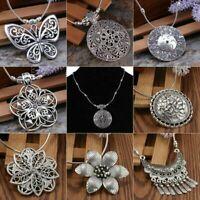 Vintage Women Tibetan Silver Turquoise Beads String Pendant Necklace Multi Style