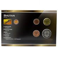 BHUTAN 4 COINS SET: 5, 10, 25 CHETRUMS, 1 NGULTRUM BHUTANESE 1979 UNC