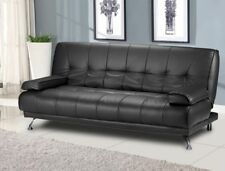 Modern Italian Venice Sofa Bed Futon- Black Faux Leather