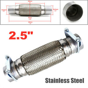 """2.5""""x 8"""" Heavy Duty Car Auto Exhaust Flex Pipe Stainless Steel Double Braided"""