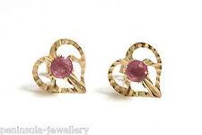 9ct Gold Ruby Studs Heart earrings Gift boxed Made in UK