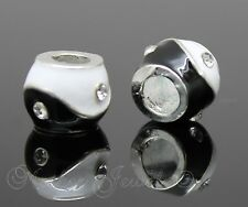 CUTE STERLING SILVER PLATED BLACK WHITE YING YANG CRYSTAL EUROPEAN CHARM BEAD