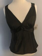 H&M Black Satin Festive Holiday Party Going out Tank Halter Top Camisole 8