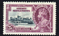 Straits Settlements 25 Cent Silver Jubilee c1935 Mounted Mint Stamp (2456)
