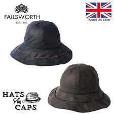 Failsworth British Waxed Cotton Ladies Cloche Bucket Waterproof Hat