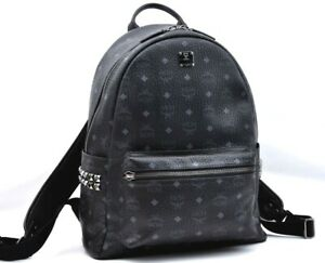 Authentic MCM PVC Leather Backpack Black A1652