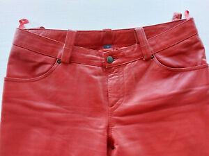 Rote Lederhose, Echt Leder Hose , Größe 42 von Raberg, Innenbeinlänge 87 cm