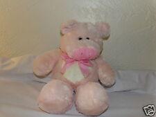 "Beautiful 16"" Best Made Toys Plush Pink PIG w/ Pink Gingham Ribbon  (60)"