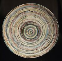 "Paper Mache Shallow Bowl 10.5"" Folded The Coiled/Wrapped Paper"