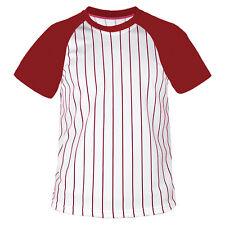 Mens Baseball Striped Jersey Raglan T-shirt Team Sport Varsity Uniform Tee Red MS 2009