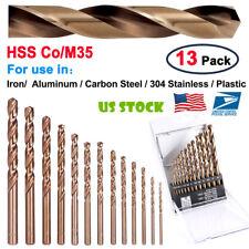 US 13PCS M35 Metal Round Shank HSS-Co Cobalt Metric Twist Drill Spiral Drill Bit