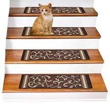 Rugsmart Rubber Backing, Skid-Resistant, Carpet Stair Treads - Set of 7 Brown
