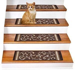 Rugsmart Rubber Backing, Skid-Resistant, Carpet Stair Treads - Set of 7 Brown