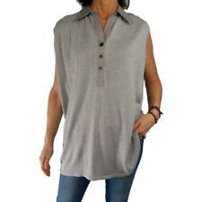 ULLA POPKEN 28/30 shaped fit silver gray metallic sleeveless spring knit top