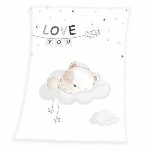 "Sleeping little bear Soft-Peachdecke 75x100 cm Babydecke ""Love You"""