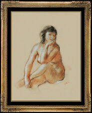 Robert Philipp ORIGINAL Pastel Painting Signed Female Portrait Nude Rare Artwork