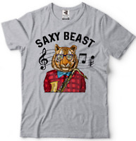 Saxy Beast Saxophone T Shirt Musician T-shirt Tiger Hipster T shirt Gift For Dad