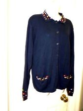 Women's lg Vintage Rtm Collectibles tatted flowers Navy blue cardigan adorable
