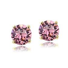 Swarovski Elements Opal Rose October Birthstone Stud Earrings in Gold Tone