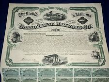 The Mobile & Alabama 1874 Grand Trunk Railroad Co. Gold Bond $1000