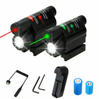 Tactical LED Hunting Flashlight Green/Red Laser Sight Scope Fit 20mm Rail Mount