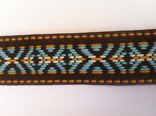 1 Meter/Metre of Blue Native Pattern Woven Jacquard Ribbon Trim