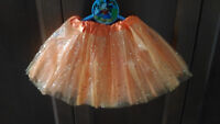 Tutu Élastique Brillant Orange pour Filles Fête Déguisement Ballet Danse 22-36