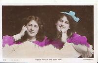 Actresses Postcard - Misses Phyllis Dare and Zena Dare - Ref TZ1582