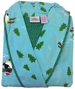 Allison Rhea Womens Penguins Blue Bathrobe 100% Cotton Pockets Dressing Gown OS