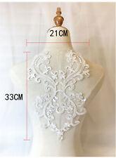 New listing Floral Bridal Gown Costume Applique Embroidery Wedding Dress Lace Trim Motif 1Pc