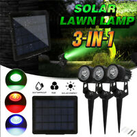 3-in-1 Solare RGB Riflettore Giardino Esterno Cortile Prato da Lampada Notte