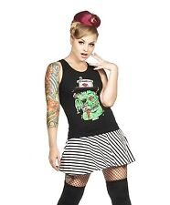 Folter Monster Beater Tank with Green Ribbon Lace Back Black Large
